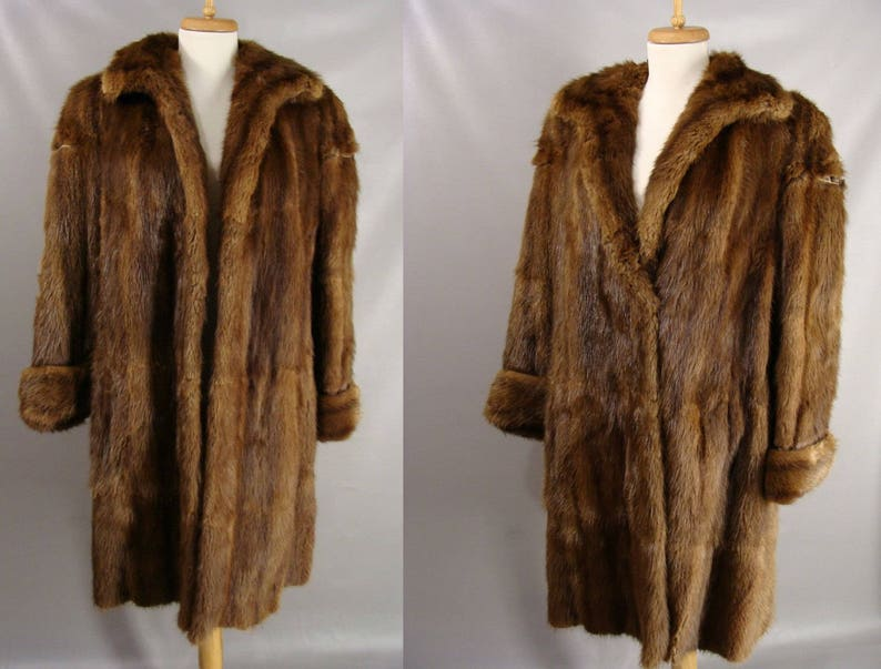 40s Brown Russian Sable Mink Fur Coat Real vintage Winter Coat image 0