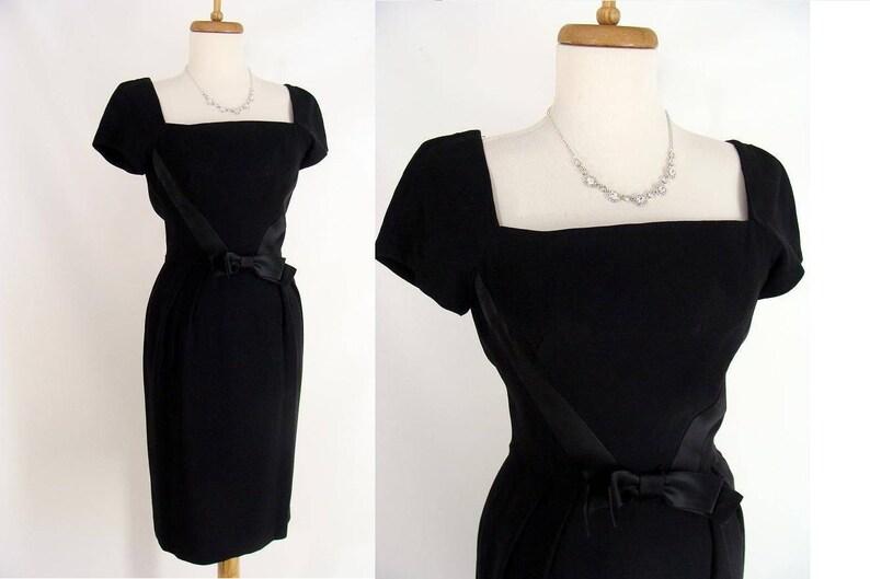 Sexy 60s Black Curvy Hourglass Wiggle Dress Bombshell image 0