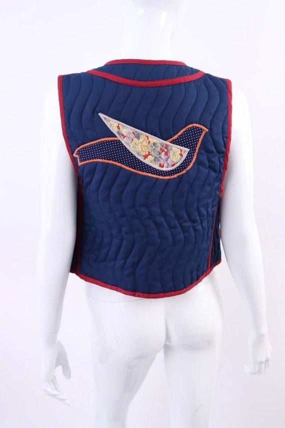 Vintage 1970's Designer Quilt Vest with Appliqué B