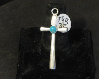 Traditional Silver Cross with Turquoise stone