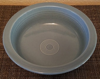"""Vintage Homer Laughlin Periwinkle Fiesta Ware 8 1/2"""" Round Vegetable / Serving Bowl / Coupe"""