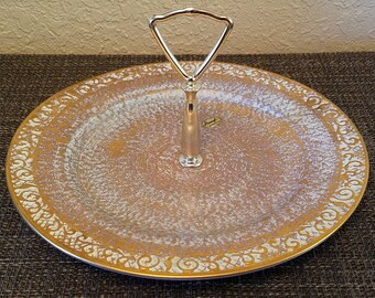 Gorgeous Retro Mid Century Stangl 22kt Gold Decorated Pottery Pastel Blue Serving Tray/Platter