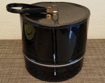 Great Mid Century Vintage Black Patent/Shiny Zipper Hat/Wig Storage/Travel Box/Case with Handle