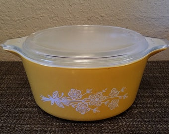 Vintage Pyrex Butterfly Gold 2 Cinderella Casserole #474-B 1 1/2 Liter with 474-C Lid