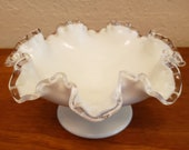Fenton Silver Crest White Milkglass Glass Footed Bowl