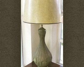 Plasto Mfg Avocado Green and Gold Chalkware Mid Century Lamp with New Wiring