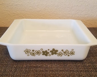 Beautiful! Pyrex 922 Spring Blossom/Crazy Daisy 8 Inch Square Baker/Baking Dish/Cake Pan/Casserole