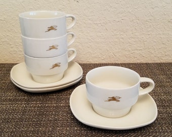 Mid Century Modern Air India Airline Nakazato China & Gold 4 Coffee/Tea Cups/3 Saucers