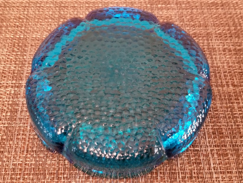 Beautiful Deep Aqua Blue Pebbled Glass Mid Century Ashtray