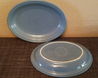 "Vintage Homer Laughlin Periwinkle Fiesta Ware 11 1/2"" Oval Serving Plate / Platter"
