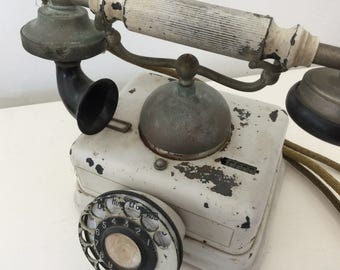 Vintage antique chippy french telephone phone shabby farmhouse