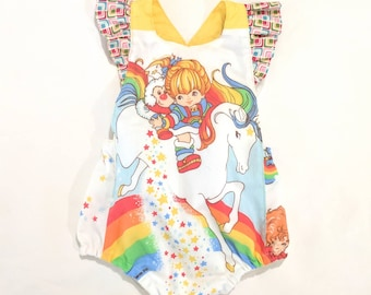 bad069d6e7d3 Vintage Boho  Rainbow Brite  Romper Playsuit Baby Girl Bow Back Tie  Birthday Outfit