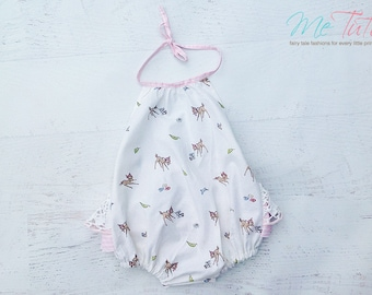 Vintage Shabby Chic  PInk and White Bambi Romper Playsuit Baby Girl