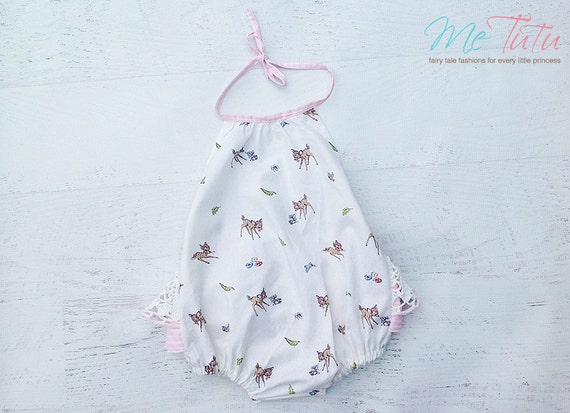 c3f25d71474 Vintage Shabby Chic PInk and White Bambi Romper Playsuit Baby