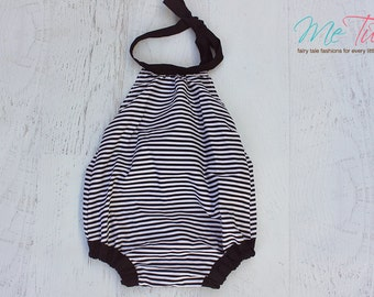 Vintage Shabby Chic  Black and White Stripe Romper Playsuit Baby Girl