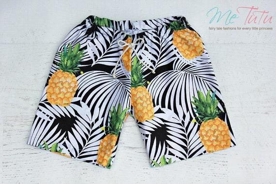 jungen shorts hose schwarz ananas palm schwarz und wei etsy. Black Bedroom Furniture Sets. Home Design Ideas