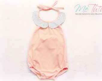 Vintage Shabby Chic  'Soft Pink' With White and Black Polka Dot Romper Playsuit Baby Girl