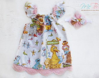 Vintage Retro Sesame Street, Big Bird, Cookie Monster, Snuffleupagus, Bert and Ernie Girl Baby Girl Dress Birthday