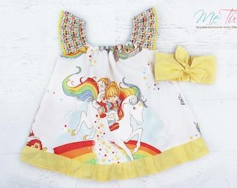 Vintage Retro Rainbow Brite Girl Baby Girl Dress Birthday