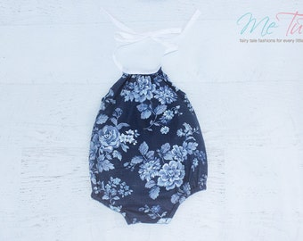 Vintage Boho Navy Blue and White Romper Playsuit Baby Girl