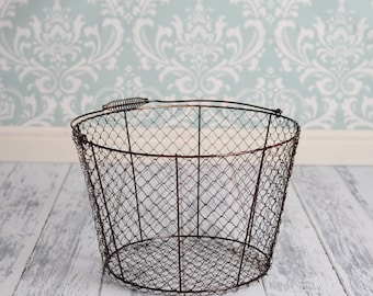 Vintage Style Wire Egg Basket with removable rim pad - Newborn Photography Prop- Lightweight
