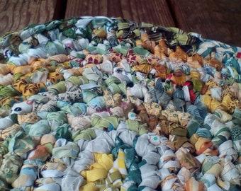 Oval Yellow, Gold, Green Crocheted Rag Rug