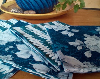 Blue and White Set Of Six Double Sided Cloth Napkins