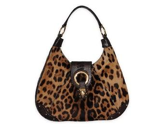 DOLCE   GABBANA 90s Ponyhair Leopard Print Vintage Hobo Bag d300d287d5