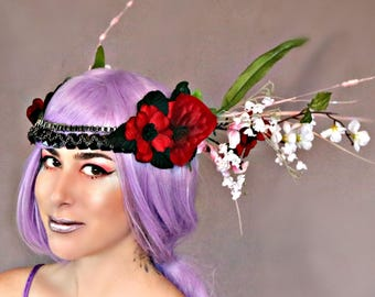 Crimson and Snow Flower Queen Crown
