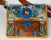 Blue Violet Dream Hand Painted Leather Purse With Blown Glass Inlay