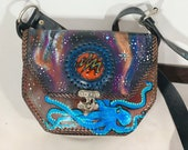 The Cosmic Octopus Leather Purse With Hand Blown Glass Inlay