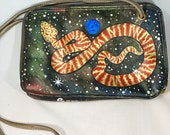 Cosmic Snake Painted Leather Purse