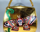 Hand Painted Vintage Golden Learher Purse