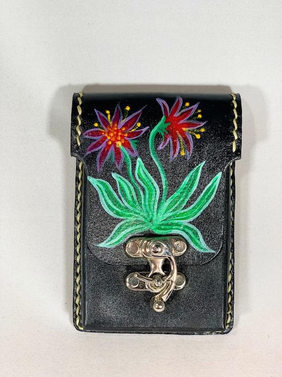 Desert Flower Hand Painted Learher Belt Wallet Belt Pouch Belt Purse
