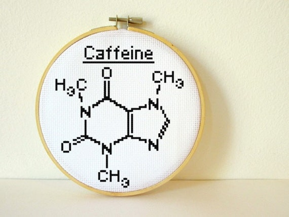 Caffeine Molecule Counted Cross Stitch Pattern Pdf Instant Etsy