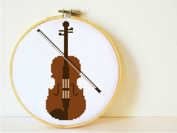 Counted Cross Stitch Pattern PDF Instant Download Violin
