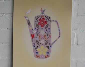 Floral Teapot Print SALE