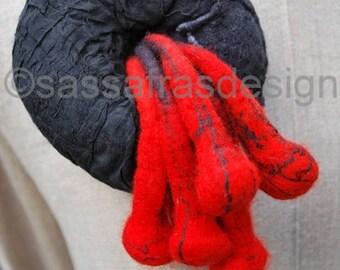Oustanding textile art brooch, wet felted statement accessory, comtemporary felt design, artistic handmade black and red brooch, fiber art