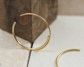 Unique 22k gold plated silver hoop earrings