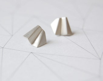 Silver folder stud earrings Faceted unique studs Brushed matte silver