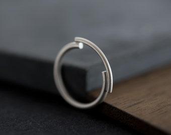 Essential ring, minimalist band silver