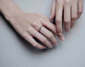 Twisted silver ring in silver, crafted by hand in Paris