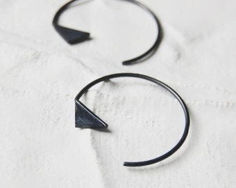Triangle Hoop earrings // black hoops silver earrings // big hoops