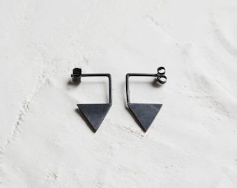 Triangle black silver earrings, Geometric earrings sustainable made by hand in Paris