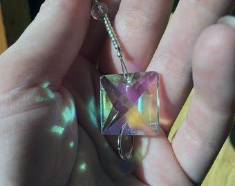 Square Crystal Suncatcher Teardrop Beaded Window Decoration Rainbow Maker