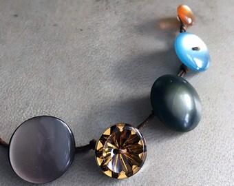Vintage Button Bracelet Boho Wrap Button Jewelry Retro Brown