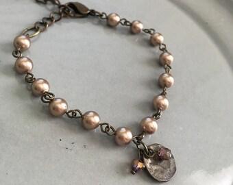 Bronze Pearl Bracelet Beaded Jewelry Boho Crystal Charm Adjustable