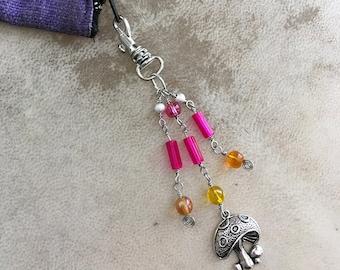 Mushroom Purse Charm Beaded Boho Zipper Pull Key Fob Hippie Journal Charm