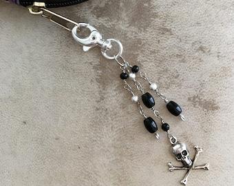 Purse Charm Skull and Crossbones Beaded Goth Zipper Pull Halloween Keychain