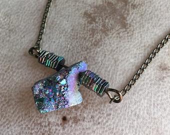 Druzy Crystal Shard Necklace Boho Beaded Bronze Jewelry